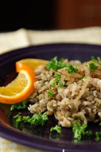 Brown Rice, lentils and camelized onion