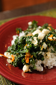 Greens with carrots, feta cheese
